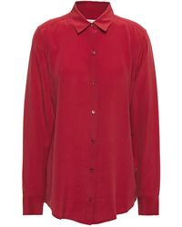 Equipment Essential Washed-silk Shirt - Red