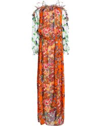 Tory Burch Off-the-shoulder Floral-print Chiffon Maxi Dress Bright Orange