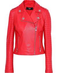 Versus Laser-cut Leather Biker Jacket Red