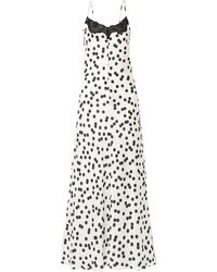 Racil Midnight Lace-trimmed Polka-dot Satin Maxi Dress Off-white