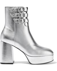 Opening Ceremony - Joan Metallic Leather Platform Ankle Boots - Lyst