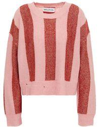 Wildfox Metallic Striped Intarsia-knit Jumper Baby Pink