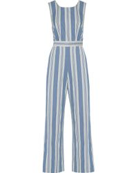 M.i.h Jeans - Striped Cotton-chambray Jumpsuit Mid Denim Size Xs - Lyst