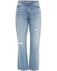 FRAME Le Hollywood Straight Distressed High-rise Straight-leg Jeans - Blue