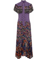 Anna Sui - Cape-effect Printed Silk Crepe De Chine And Chiffon Gown - Lyst