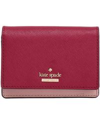 Kate Spade - Two-tone Textured-leather Wallet Claret - Lyst