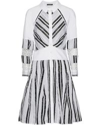 Zac Posen - Woman Poplin And Mesh-paneled Striped Woven Shirt Dress White - Lyst