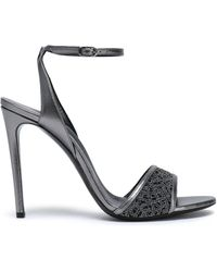 Casadei - Metallic Leather And Embroidered Mesh Sandals - Lyst