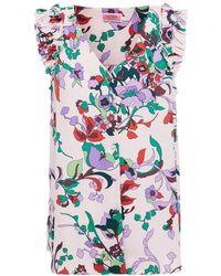 Kate Spade Ruffled Floral-print Crepe Top Pastel Pink