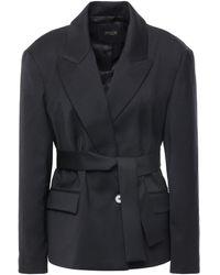 Maje Belted Woven Blazer Black