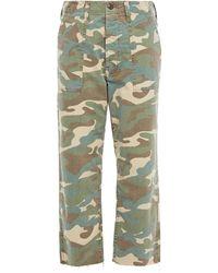 Mother Cropped Boyfriend-jeans Mit Print Military-grün