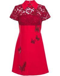 Valentino Corded Lace-paneled Embellished Cady Mini Dress Red