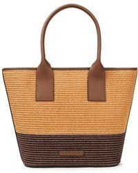 Brunello Cucinelli Bead-embellished Leather And Faux Raffia Tote - Brown