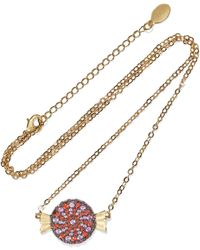 Noir Jewelry Wrapped Candy 14-karat Gold-plated Crystal Necklace Gold - Metallic