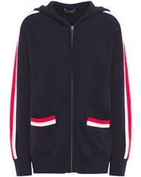 N.Peal Cashmere Striped Cashmere Hoodie - Blue