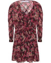 IRO Wick Ruched Floral-print Georgette Mini Dress - Red