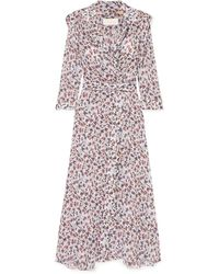 Chloé Floral Print Wrap Dress - Grey