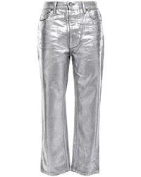 Acne Studios Log Cropped Metallic High-rise Straight-leg Jeans Silver