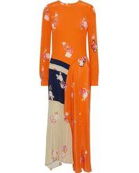 Preen Line Selena Asymmetric Floral-print Crepe De Chine Maxi Dress Größe Xs - Orange