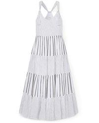 The Great The Glen Picot-trimmed Striped Cotton-poplin Maxi Dress - Multicolour