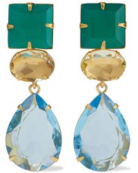 Bounkit 14-karat Gold-plated, Onyx And Quartz Earrings Emerald - Green