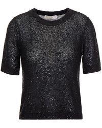 MICHAEL Michael Kors Sequin-embellished Stretch-knit Top - Black