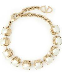 Valentino - Gunmetal-tone Faux Pearl Bracelet - Lyst