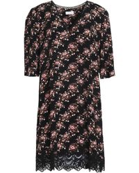 Claudie Pierlot - Lace-trimmed Floral-print Crepe Mini Dress - Lyst