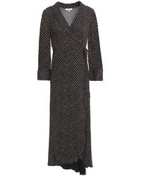 Ganni Asymmetric Leopard-print Georgette Midi Wrap Dress - Black