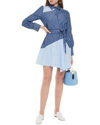 10 Crosby Derek Lam Belted Striped Cotton-poplin Mini Shirt Dress Light Blue