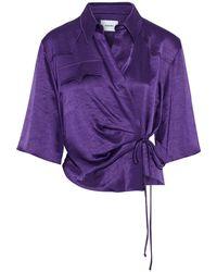 Nanushka Dalas Draped Crinkled Washed-satin Wrap Top Purple