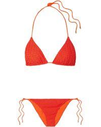 Missoni - Woman Mare Pizzo Crochet-knit Triangle Bikini Bright Orange - Lyst