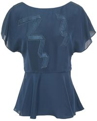 Paul Smith Satin-trimmed Embroidered Crepe Peplum Top Storm Blue