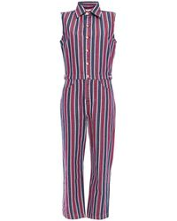 7 For All Mankind 7 For All Kind Striped Denim Jumpsuit - Red