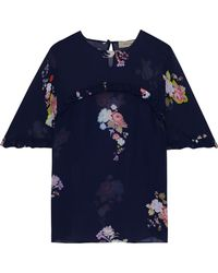 Preen Line Blake Ruffle-trimmed Floral-print Georgette Top - Blue