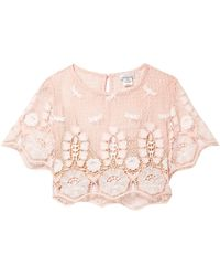 Miguelina Lula Cropped Macramé Lace Top Pastel Pink