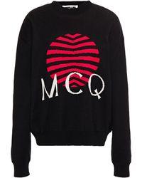 McQ Intarsia Cotton Jumper - Black