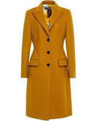 Dolce & Gabbana Velvet-trimmed Wool And Cashmere-blend Felt Coat - Yellow