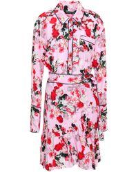 Marissa Webb - Woman Belted Ruffled Floral-print Silk-crepe Mini Dress Baby Pink - Lyst