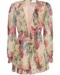Zimmermann Melody Floral-print Silk-georgette Playsuit Pastel Yellow - Multicolour