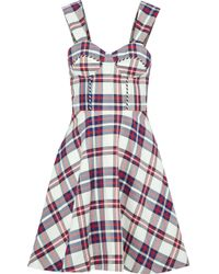 House of Holland - Flared Checked Twill Dress - Lyst
