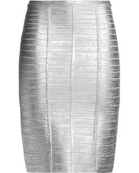 Hervé Léger - Metallic Coated Bandage Skirt - Lyst