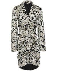 Roberto Cavalli Ruched Leopard-print Silk-blend Satin Mini Dress - Black