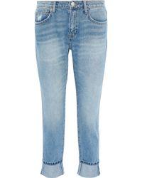 Current/Elliott - The Fling Cropped Distressed Mid-rise Slim-leg Jeans Light Denim - Lyst