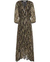 Ba&sh Jisy Leopard-print Fil Coupé Silk-blend Georgette Maxi Wrap Dress - Multicolour