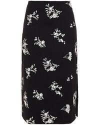 Maje Japeni Embroidered Stretch-crepe Midi Skirt Black