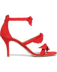 Iris & Ink Antonia Knotted Suede Sandals Red
