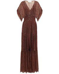 Ba&sh Wanda Shirred Printed Metallic Georgette Maxi Dress - Black