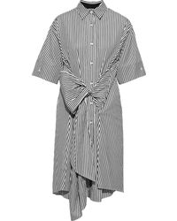TOME Bow-detailed Striped Cotton-poplin Shirt Dress White