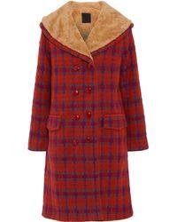 Anna Sui Fleece-trimmed Checked Bouclé Coat Orange